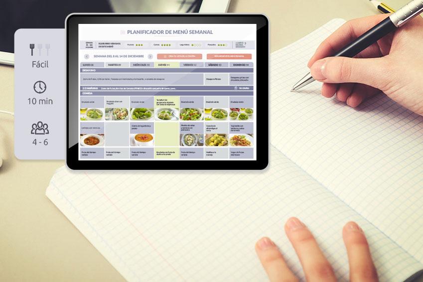 Imagen del planificador de menú semanal de Menú Planner