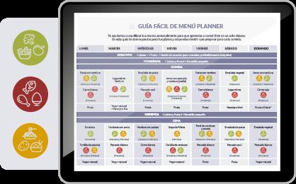 Tablet con la web de Menú Planner